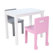 Max & Lily White Wood Kid and Toddler Rectangular Table + Chairs
