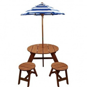 Homeware Brown Wood Kids Round Umbrella Table and Stools (3-piece Set), Umbrella Included, Durable for Outdoor Use, Picnic