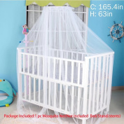 Sealive White Baby Nursery Mosquito Net Baby Toddler Bed Crib Canopy Netting Dome Hanging Mosquito Netting