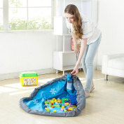 Tloowy Children's Play Mat and Toys Storage Bag, 80cm Kids Playbag Toys Organiser Quick Pouch, Great for Storing Small and Medium Size Toy Blue