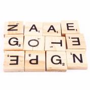 100Pcs/lot Wooden Alphabet Scrabble Tiles Black Letters & Numbers Wooden Toy for Baby Children