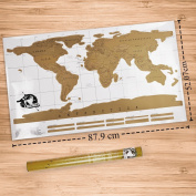 Scratch Off World Map with a Gold Compass