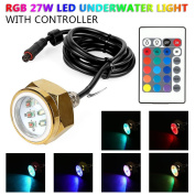 LeaningTech 27w RGB Led Drain Plug Light Boat Underwater Remote Control Diving Fishing Lamp Deck/Marine/Boat Waterproof Colour Changing