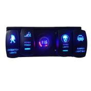 Kimloog 12V Waterproof LED Digital Voltmeter Laser Rocker Switch + Rocker Switch ARB Plug + Housing Holder Panel For Car Boat Truck RV