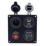 Kimloog Blue Light Car Auto Boat Marine, USB Voltmeter Aluminium Switch Board Easy Instal Combination Panel