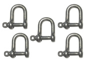 5 Pack Stainless Steel 316 Forged D Shackle 0.5cm Marine Grade Dee