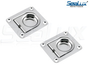 """SeaLux Marine Rectangular 1-1/2"""" x 1-3/4"""" (38 x 44 mm) Spring Loaded Lifting Ring for Boat Hatch (Pack of 2)Small"""