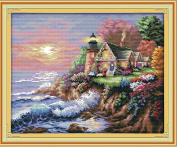 "eGoodn Stamped Cross Stitch Kit Accurate Pre-printed Pattern - Scenery Seaside Lighthouse 11CT 3 Strands 22""X17.7"", Cross-Stitching Needlework DIY Embroidery Without Frame"