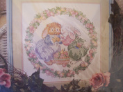 Juniper and Periwinkle Bunny Picture Stamped Cross Stitch Kit