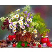 Fipart DIY diamond painting cross stitch craft kit. Wall stickers for living room decoration. Flower