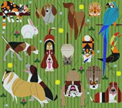 CHARLEY HARPER'S-FRIENDS OF OUR FAMILY-HC-F220-18 CT NEEDLEPOINT CANVAS