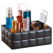 Remote Control Holder, PU Leather TV Remote Control Storage Organiser/Caddy/Rack/Organiser, Pretty Handy Black Media Accessories and Cosmetics Caddy For Bedside, Coffee or End Table