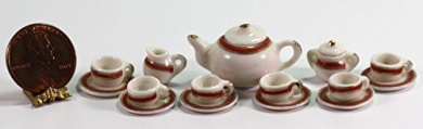 Dollhouse Miniature Red Band Ceramic Tea Set Trimmed in Gold