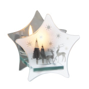 11cm Frosted Glass Snowflake & Reindeer Mirrored Star Christmas Tea Light Candle Holder