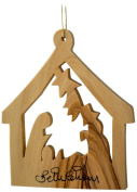 Earthwood Olive Wood Ornament Stable with Nativity, Large