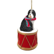 Bearded Collie Drum Christmas Ornament w. Gold String & Scarf
