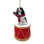 Cavalier King Charles Drum Christmas Ornament w. Gold String & Scarf