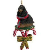 COCKER SPANIEL Dog Black/Brown CANDY CANE Christmas Ornament DCC15F by Eyedeal Figurines