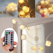 [UPDATED VERSION] Battery Operated 4.6m 30 LED White Rose Flower Fairy String Lights with Remote for Valentine's, Wedding, Bedroom, Indoor Decoration