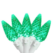 Set of 50 Faceted Green LED C6 Christmas Lights - White Wire