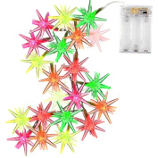 Icicle Battery Operated String Lights, 3.2m 20 LED Auto Time Crystal Stars Lighting with 7 Colour Slowly Flashing Mode for Indoor Decoration