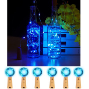 JIDI Bottle Lights 6 PCS Cork Lights String-2M/200cm Silver Wire 20LEDS Fairy String Lights Battery Powered Micro Lights With Screwdriver For Party Wedding Home Kitchen Decoration-Blue Colour