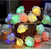 URToys Events and Parties 2M 20LED Colourful Rose Flower LED String Lights Battery Party Wedding Birthday Christmas Decoration Lightings Rose LED Guirlande Lumineuse