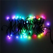 ALITOVE 50pcs/String 5V 12mm WS2811 Addressable LED Pixel String Digital Dream Colour Diffused RGB LED Pixels Module Strand Round Black Wire IP68 Waterproof