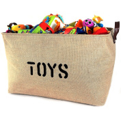 "NEW! XXXLARGE Jute Basket ""TOYS"" 60cm Long x 36cm DEEP Storage Bin (Thicker stronger Jute) PU Leather Handles- Storage Baskets for organising Baby Toys, Kids Toys, Baby Clothing, Gift Baskets"