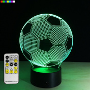 Perfect Gift for Boys 3D Night lights 7 Colours Change with Remote Control Novelty Gift for Any True Football Fan or Sport Fan by Easuntec