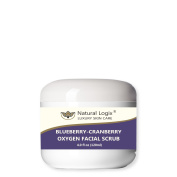 Natural Logix's Blueberry-Cranberry Oxygen Facial Scrub gently exfoliates the skin to receive oxygen enhancing vitamins and minerals for smooth soft clear skin