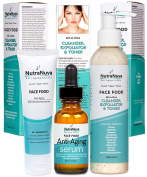 NutraNuva Face Food Natural Skin Care – Stop-the-Clock! Bundle with our Anti Ageing Anti Wrinkle Moisturiser + Anti Ageing Serum Complex with 20% C + All-in-One Cleanser, Exfoliator & Toner