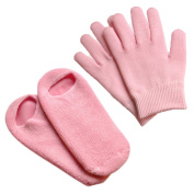 ebeau Gel Moisturising Spa Gloves Socks,Soft Cotton with Thermoplastic Gel,Whiten Exfoliating Cuticles Repair and Beauty Cracked Skin for Women Lady Pink