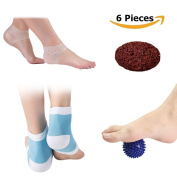 Moisturising Silicone Gel Heel Socks Plantar Fasciitis Sleeve,Spiky Massage Ball,Pumice Stone,Relieve Foot Pain and Metatarsal Pain ( 6 pieces)