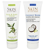 Skin by Ann Webb Face & Body cream and Coconut Water Sensitive Skin Cleanser with Olive Oil, Hyaluronic Acid, Jojoba Seed Oil,Cucumber Extract, Witch Hazel and Jasmine Extract, 240ml and 120ml
