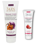 Skin by Ann Webb Pomegranate Daytime Protection Moisturiser and Wakame COQ10 Firming Repair Cream with Aloe, Pomegranate Extract, Yerba Mate, Sunflower Seed Oil and Wakame Seaweed, 50ml and 100ml