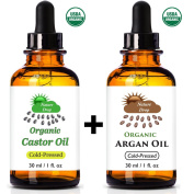 Nature Drop's USDA Oil set - Castor Oil ,Organic & Argan Oil - 100% USDA Certified Pure Cold Pressed Hexane free - 100% Pure Moroccan Anti Ageing, Anti Wrinkle Beauty Secret.