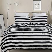 Vaulia Lightweight Microfiber Duvet Cover Set, Black and White Stripe Pattern Design - King Size