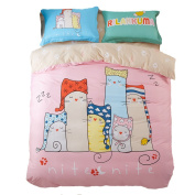Mumgo Home Textile Bedding for Adult Kids Pink Lovely Cat Family Pattern Duvet Cover Set 100% Cotton,Not Include Any Comforter or Filler