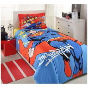 Bekata 100% Turkish Cotton 3Pcs!! Superman Faster Stronger Single Twin Size Duvet Quilt Cover Set Bedding Linens Made in Turkey