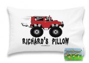 """Customizable, """"Monster Trucks"""" Pillowcase. Personalised With Your Child's Name - Perfect Gift For Boys Or Girls Of All Ages!"""
