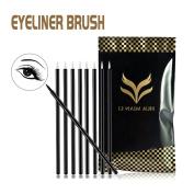 100 PCS Disposable Eyeliner Brush Applicator - Black Cosmetic Eye Liner Wands, Lipliner Makeup Tool