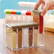 6Pcs/set Spice Shaker Seasoning Bottle Spice Rack Holder Jar Condiment Storage Container with Tray for Salt Sugar Cruet, Kitchen Condiment Bottles Box ,Multi Colour