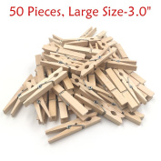 Natural Wood Clothespins with Spring, Multi-Function Photo Paper Peg Pin Craft Clips, 50 Pieces, Large Size 7.6cm for Home, School, Arts, Crafts and Decor by aHeemo