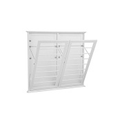 Laundry Room Space Saving Wall Mount Clothes Clothing Drying Rack Hanger Double Wide Classic White 120cm W x 5.1cm D x 110cm H