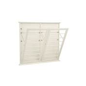 Laundry Room Space Saving Wall Mount Clothes Clothing Drying Rack Hanger Double Wide Off White 120cm W x 5.1cm D x 110cm H