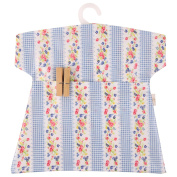 Neoviva Waterproof Clothespin Peg Bag with Plastic Hanger, Pack of 2, Floral Striped Blue