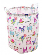 DuShow Folding Cylindrical Waterproof Coating Canvas Fabric Laundry Hamper Storage Basket