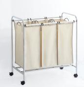 Hamper with Wheels Rolling Cart Heavy Duty 3-Bag Triple Laundry Organiser/Sorter, Chrome/Beige by Clara Clark