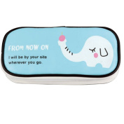 BUYITNOW Cartoon PU Leather Double Zipper Pencil Case with Mesh Compartment Large Capacity Pocket